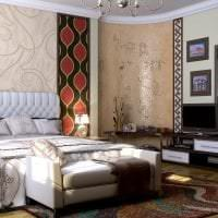 светлый дизайн спальни в этническом стиле картинка