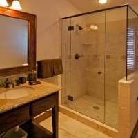 красивый дизайн ванной комнаты с душем в темных тонах картинка