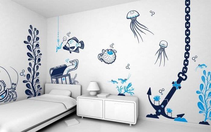 красивый трафарет в дизайне спальни