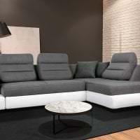 кожаный угловой диван в дизайне гостиной картинка