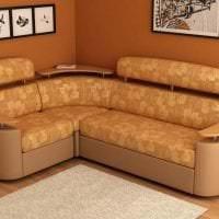 красивый угловой диван в дизайне спальни фото