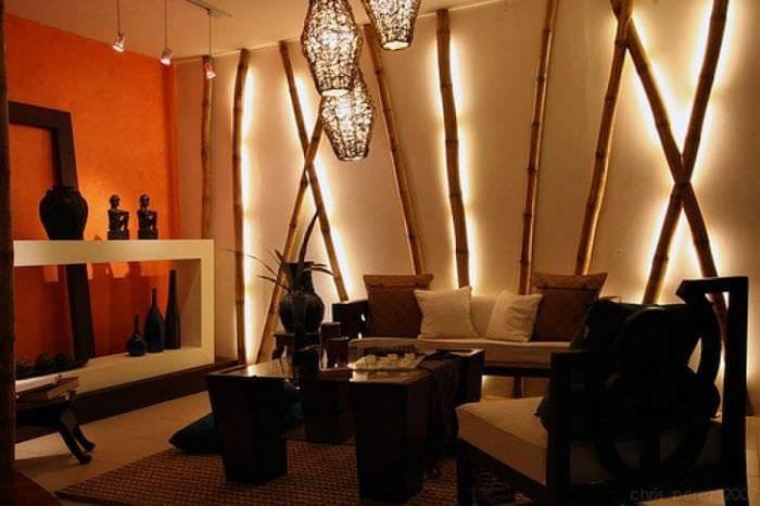 шторы с бамбуком в интерьере спальни