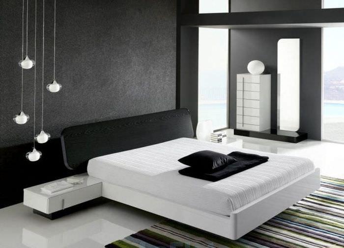 натяжной черный потолок в стиле гостиной