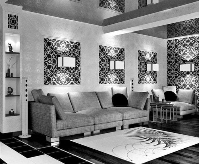 необычный интерьер спальни в черно белом цвете