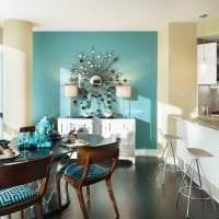 светлый дизайн кухни в бирюзовом цвете фото