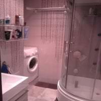 светлый стиль ванной комнаты с душем в темных тонах фото