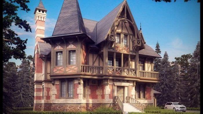 светлый дизайн загородного дома в архитектурном стиле