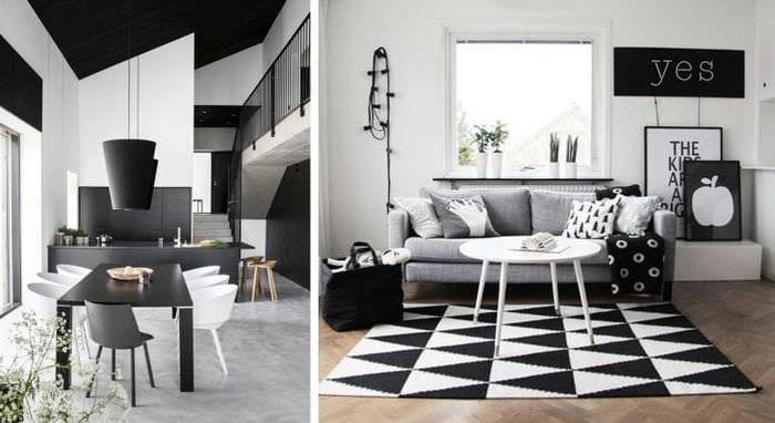 шикарный дизайн спальни в черно белом цвете
