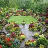 красивый ландшафтный декор двора в английском стиле с деревьями картинка