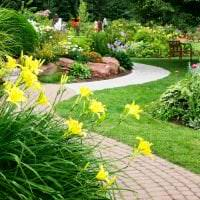 шикарный ландшафтный декор сада в английском стиле с деревьями фото