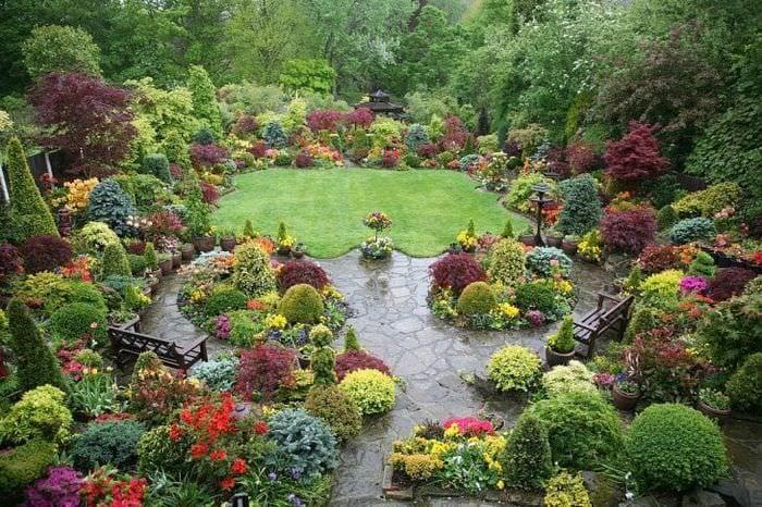 красивый ландшафтный декор сада в английском стиле с цветами
