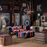 яркий интерьер спальни в английском стиле картинка
