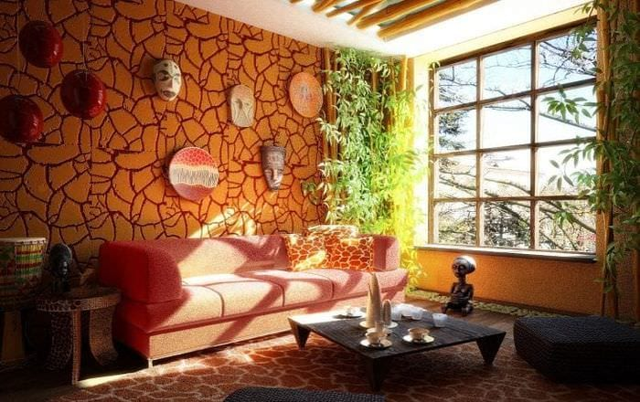 яркий стиль коридора в африканском стиле