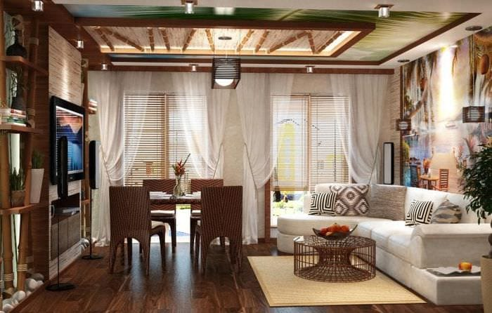 шторы с бамбуком в дизайне комнаты