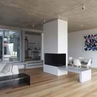 дизайн потолка с раствором бетона в комнате фото