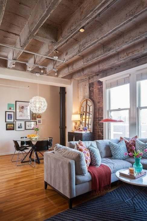 стиль потолка с раствором бетона в спальне