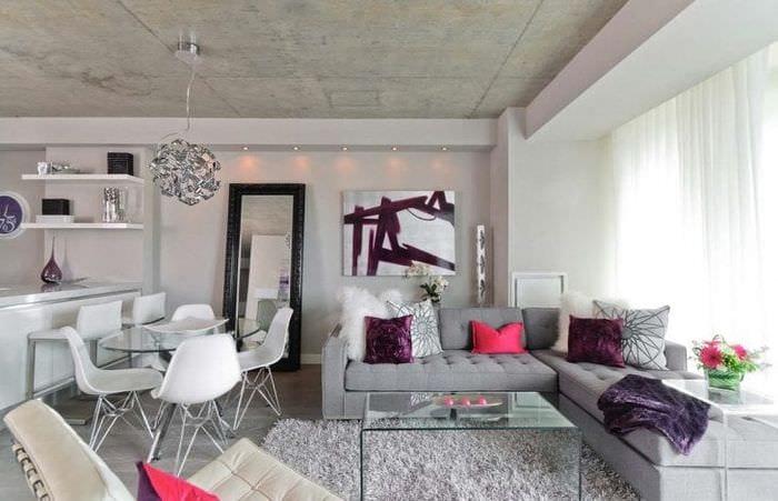 стиль потолка с раствором бетона в доме