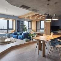 интерьер потолка с раствором бетона в квартире картинка
