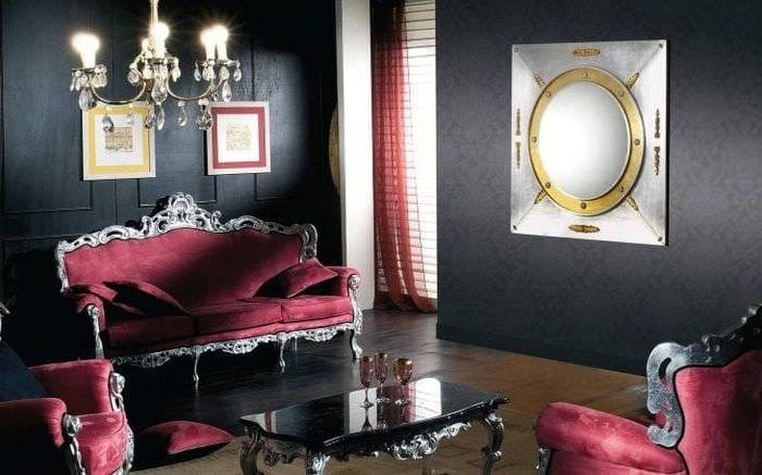 волнистые темные обои в стиле спальни
