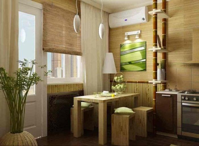 мебель с бамбуком в дизайне кухни