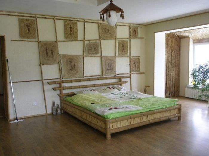 шторы с бамбуком в стиле спальни