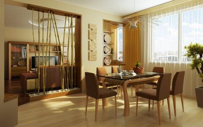 обои с бамбуком в дизайне комнаты