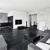 шикарный интерьер кухни в черно белом цвете фото