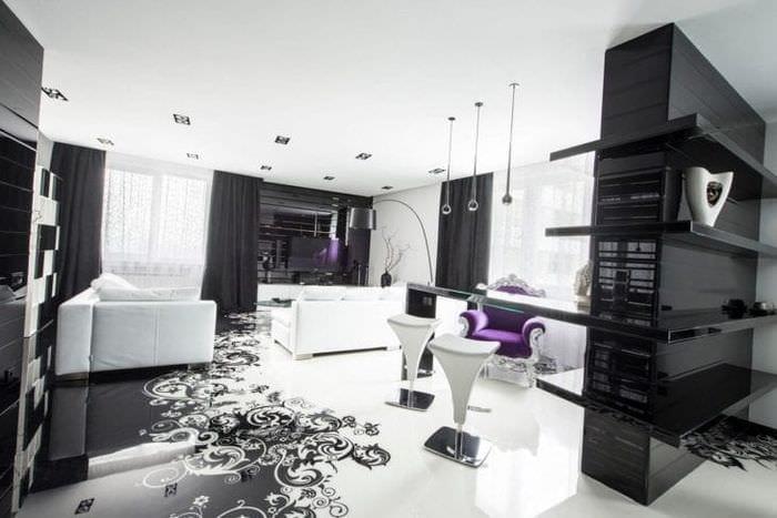 шикарный интерьер спальни в черно белом цвете