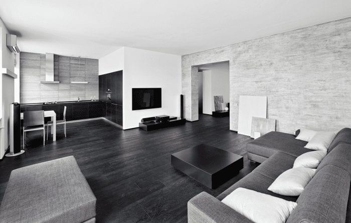 яркий стиль гостиной в черно белом цвете
