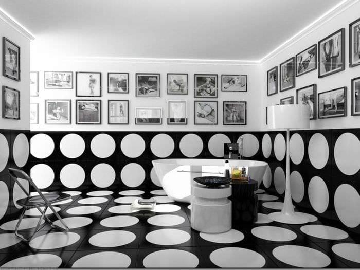 яркий дизайн прихожей в черно белом цвете
