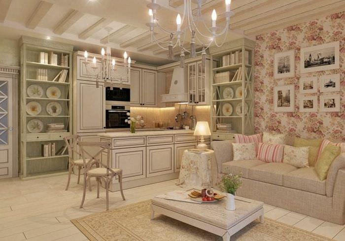 яркий декор спальни в стиле шебби шик
