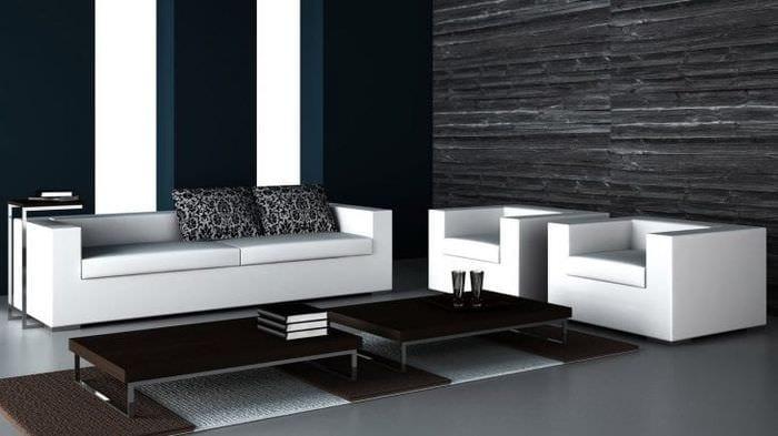 красивый стиль спальни в черно белом цвете