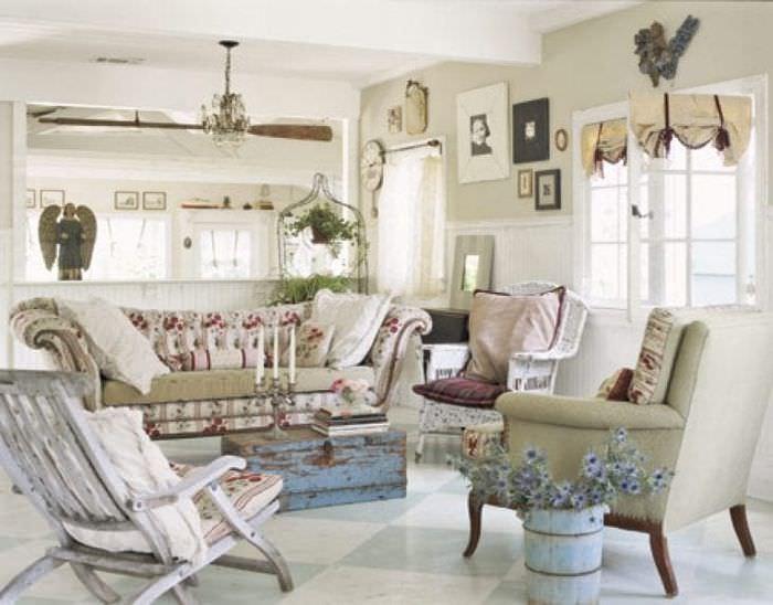 красивый дизайн спальни в стиле шебби шик
