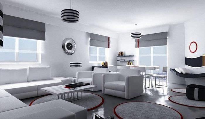 светлый дизайн комнаты в стиле хай тек