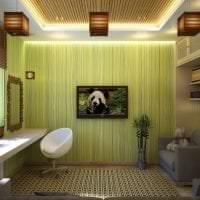 обои с бамбуком в интерьере спальни картинка