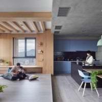отделка потолка с бетоном в спальне фото