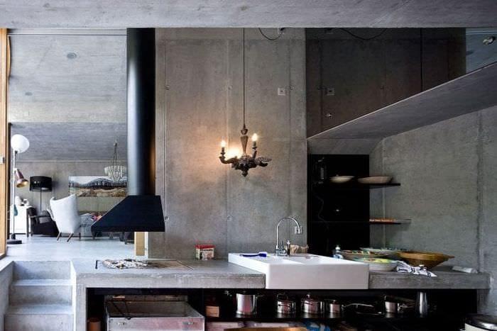 дизайн потолка с бетоном на кухне