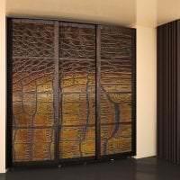 дизайн шкафа купе в гостиной из дерева картинка