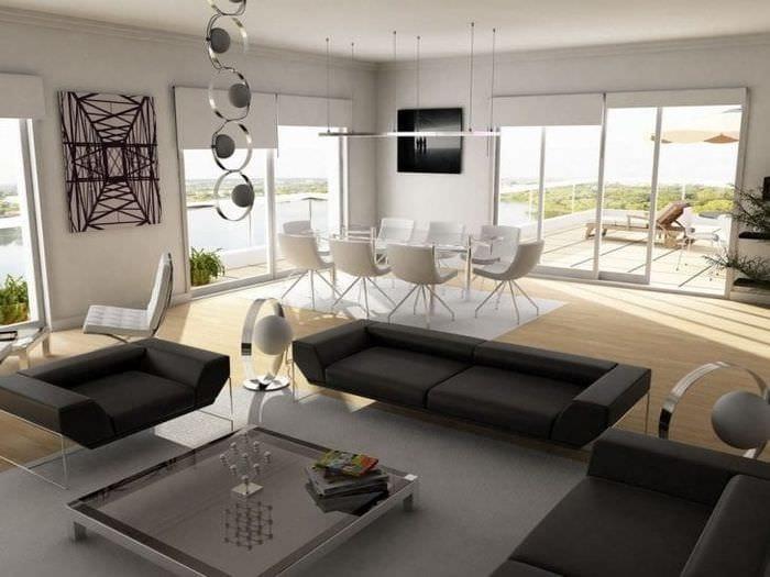стильный декор гостиной в стиле хай тек