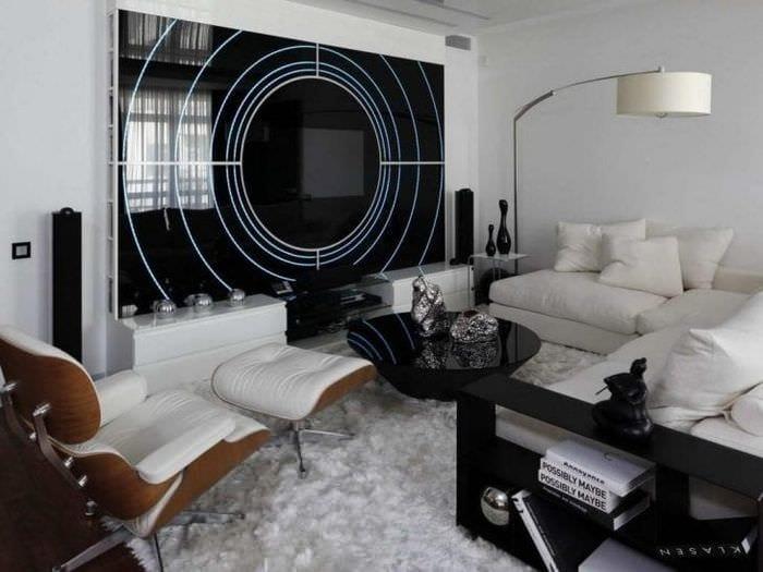 яркий дизайн квартиры в стиле хай тек
