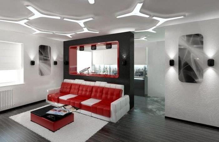 светлый интерьер квартиры в стиле хай тек