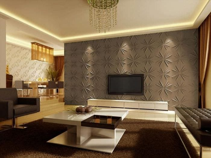 светлая бамбуковая 3д панель в кухне
