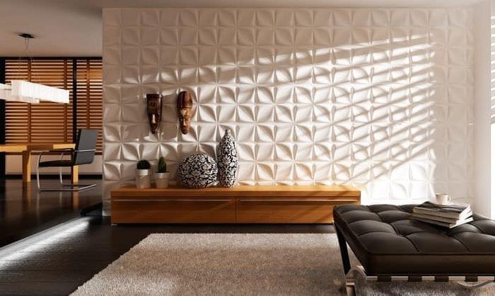 светлая бамбуковая 3д панель в гостиной