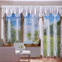 необычные шторы нити в стиле спальни фото