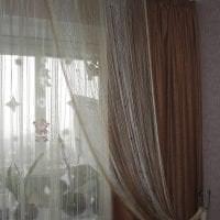 необычные шторы нити в дизайне спальни фото