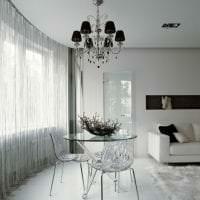 светлые шторы нити в дизайне спальни фото