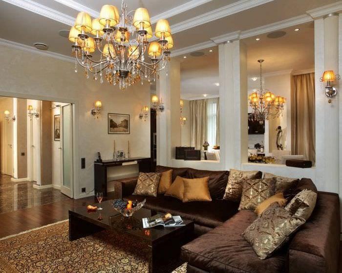 красивый ар деко интерьер гостиной