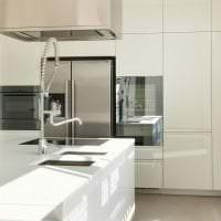 красивый белый пол в интерьере кухни картинка