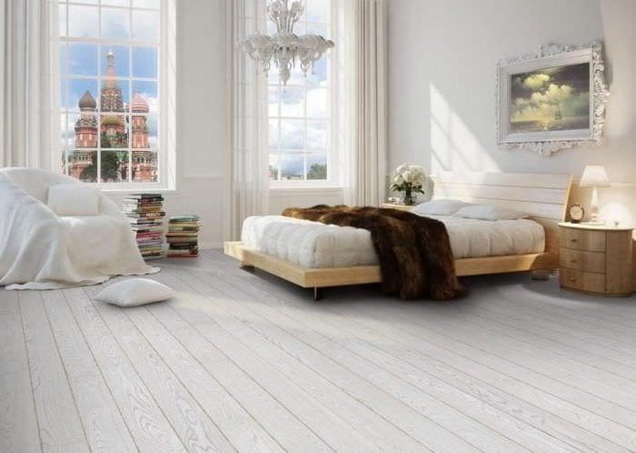 красивый белый пол в дизайне квартиры