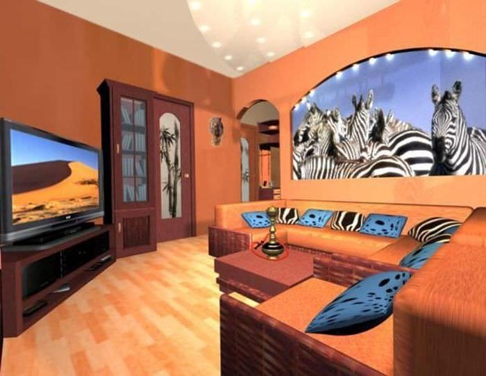 светлый интерьер квартиры в африканском стиле
